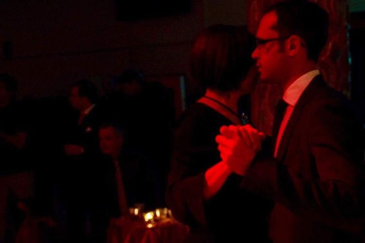Two People Dancing Milonga Tango Dancers Tangoargentino Indoors  Night Side View Adults Only Standing Tangueros Second Acts Night Lights Red Color