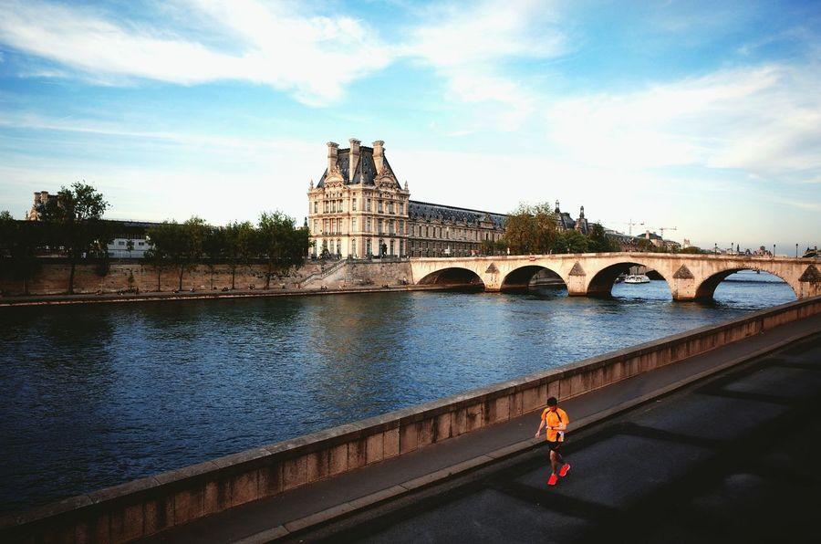 By the Seine. Paris Paris ❤ Paris, France  Riverseine Seine River Banks Seine River Seine Banks Seineriver Seine Jog First Eyeem Photo Solo Jogger Jogging Track The Architect - 2016 EyeEm Awards