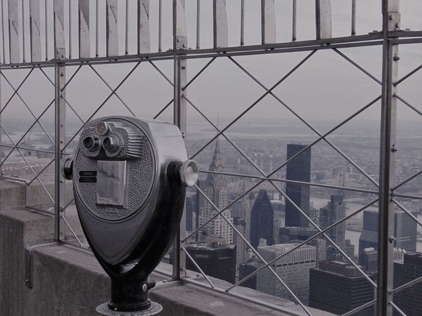 Empire State building Architecture Binoculars Building Exterior City Cityscape Close-up Coin-operated Binoculars Day Metal No People Outdoors Sea Sky Surveillance Technology Water The Graphic City