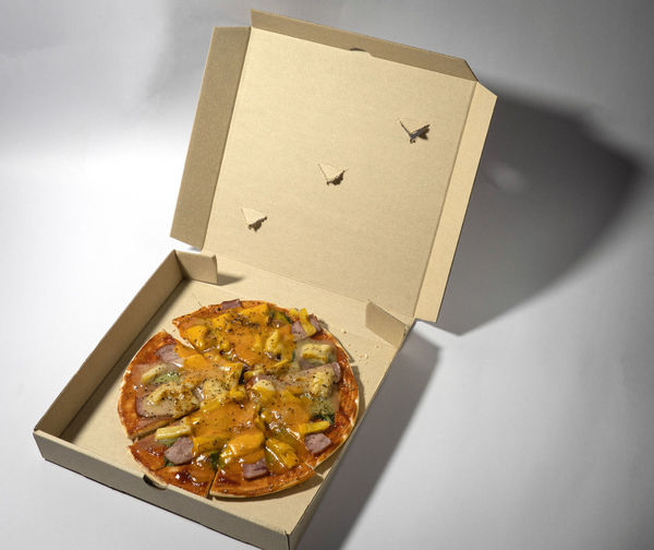 High angle view of pizza in box