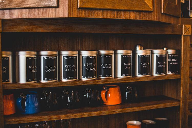 Bottles on shelf at home