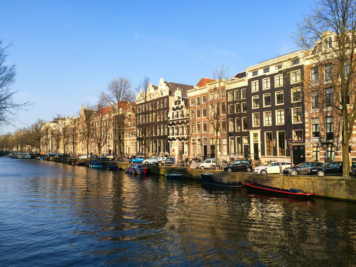 Keizersgracht canal Architecture Building Building Exterior Canal City Clear Sky Holland House Keizersgracht Moored Street Capital Cities  The Architect - 2016 EyeEm Awards Feel The Journey