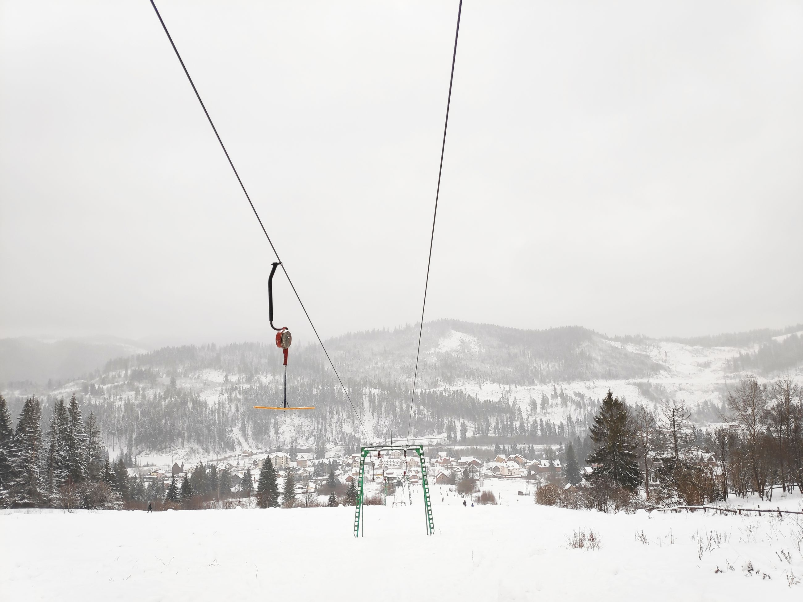 snow, winter, cold temperature, mountain, scenics - nature, beauty in nature, cable car, tree, sky, ski lift, nature, landscape, day, environment, tranquil scene, covering, overhead cable car, cable, white color, mountain range, no people, outdoors, snowcapped mountain