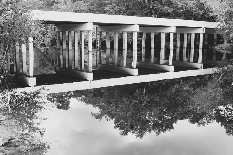 Sometimes I feel like up is down and down is up Reflection Black And White Blackandwhite Bridge Road River South Carolina Rural Waccamaw River