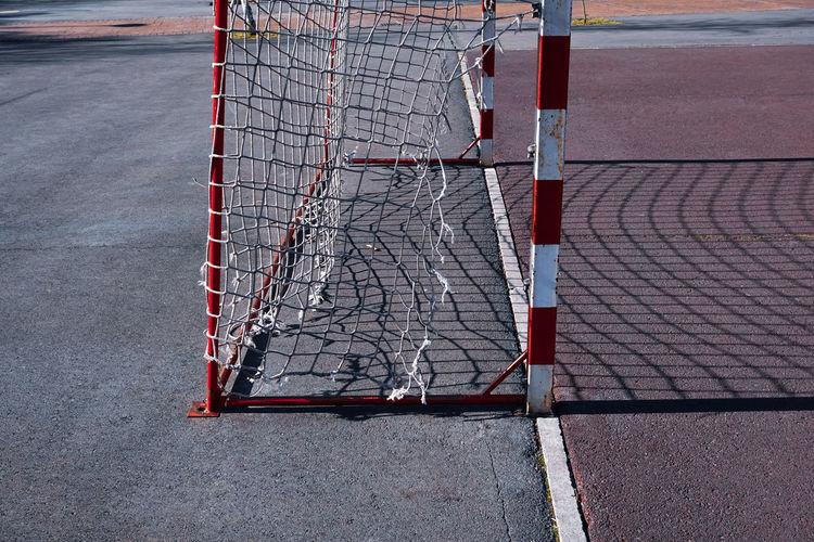 Old street soccer goal sports equipment