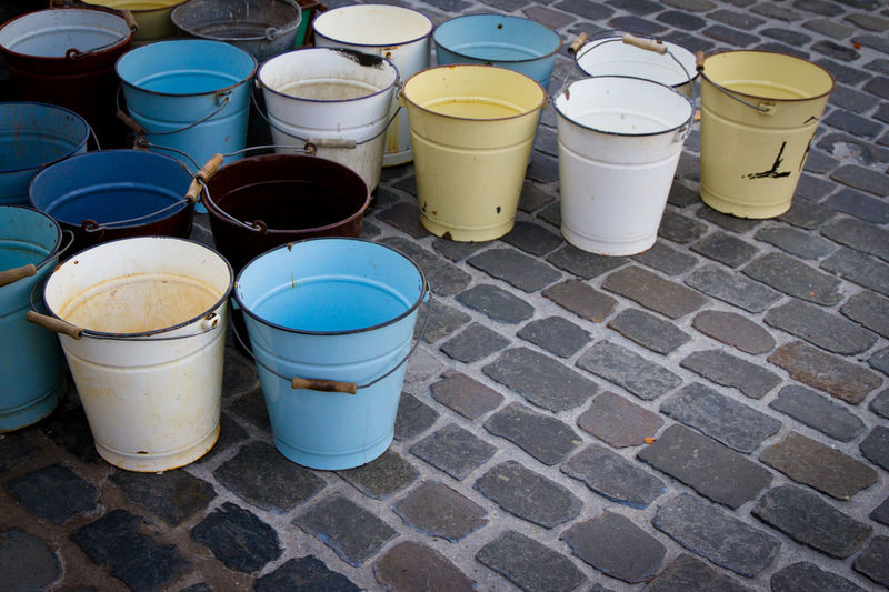 High angle view of empty glasses on street