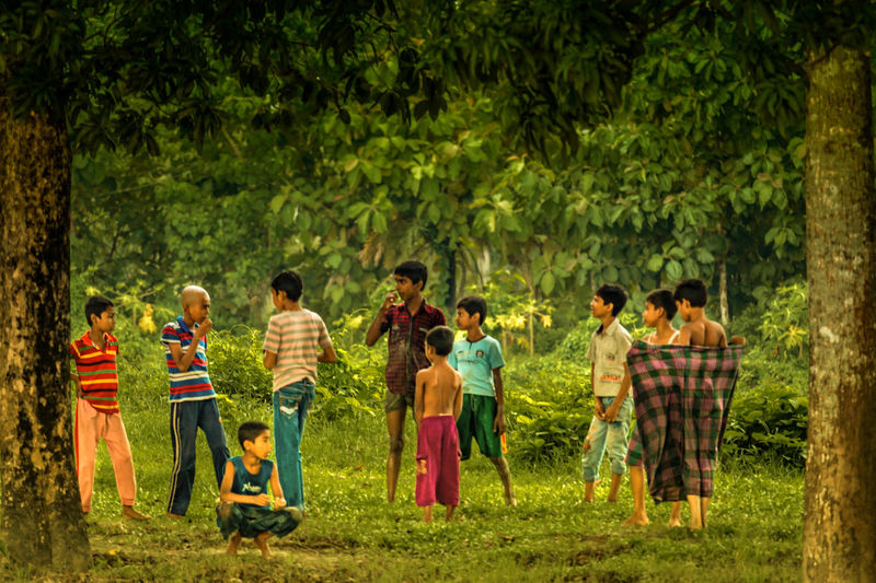 The Team of Naughty boys! Childhood in rural Bangladesh! Taking Photos Cute Sweet Frame It! Framing Framed Framing The View Frame Joy Joyful Youthful Green Trees Tree Leaves🌿 Lifestyles EyeEm Best Shots