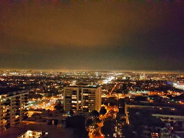 Cityscape City Building Exterior Architecture Sky High Angle View Illuminated Built Structure Outdoors Night No People Losangeles Los Angeles, California Rooftop View  LA By Night