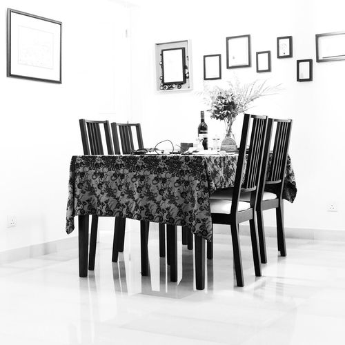 High Key Dining Table Black And White Minimal Stark Wall Decoration Singapore Condominium
