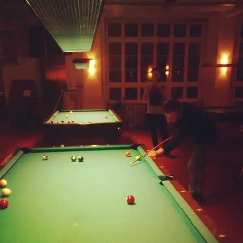 @aaalec taking a picture of @jamestomassi whilst playing pool to black sabbath. Metallllll