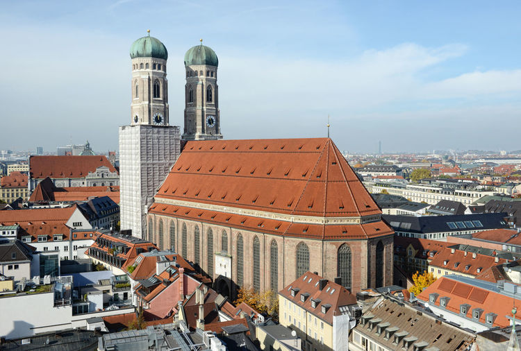 Cityscape of Munich with the Frauenkirche church. Located next to Marienplatz. Architecture Built Structure Cathedral Catherdral City City Life Cityscape Day Frauenkirche München Munich Munich, Germany München München Munich München,Germany Outdoors Tourism Town