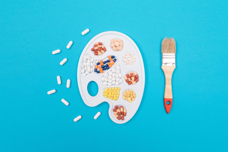 High angle view of breakfast on table against blue background