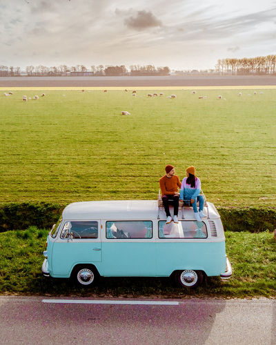 Vw Van  Van Volkswagen Volkswagen Van VW Couples Valentine Women Couples In Love Sunrice Netherlands Holland Togetherness Men Sitting Full Length Standing Mature Men Car Sky Farmland Farm Crop  Shore Rice Paddy Wheat Ear Of Wheat Cultivated Land Agricultural Field Combine Harvester