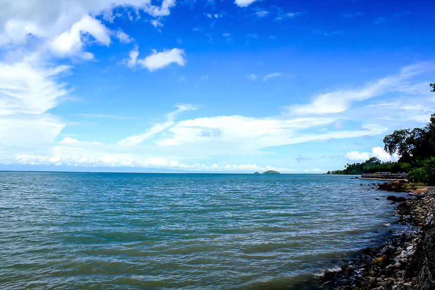 Sea View Clouds in the Sky on a Bright Day Beach Beauty In Nature Blue Cloud - Sky Day Horizon Horizon Over Water Idyllic Land Landscape Landscape Sea Nature No People Outdoors Scenics - Nature Sea Sky Tranquil Scene Tranquility Tree Water Waterfront