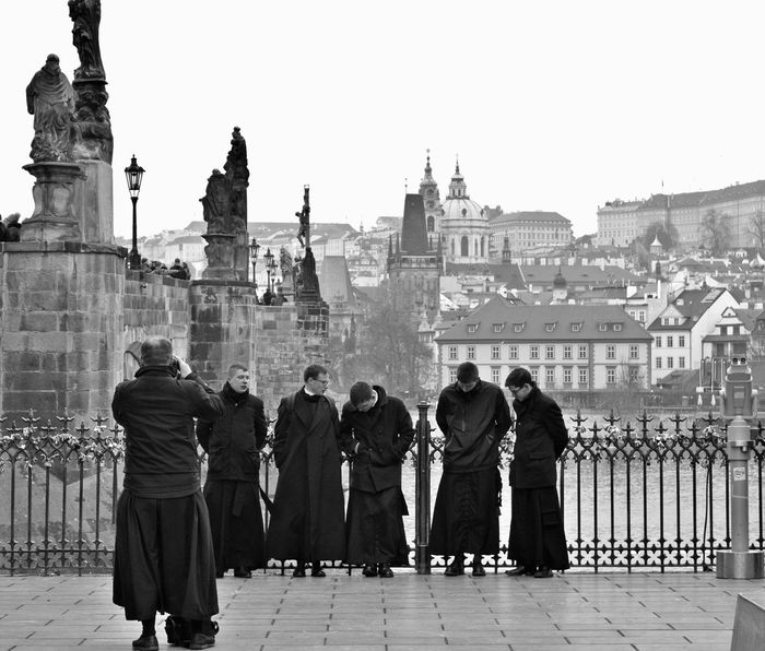 Architecture Black & White Black And White Blackandwhite Building Exterior Built Structure City Clear Sky Day Full Length History Monk Robe Monks Outdoors People Place Of Worship Real People Religion Say Cheese Sky Streetphoto_bw Streetphotography Taking A Break Taking Photos Uniforms