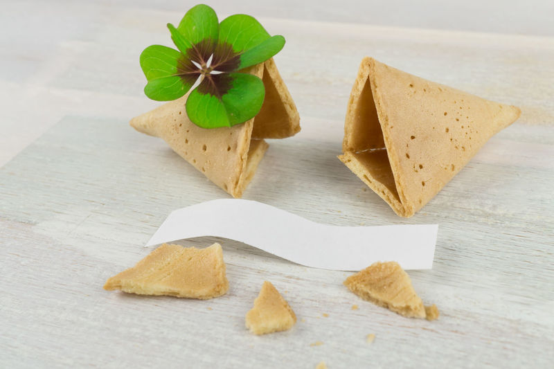 ASIA Asia Food Chinese Food Cookies Four-leaf Clover Luck Lucky Wisconsin Blank Blank Label Chinese Close-up Cookie Day Food Food And Drink Fortune Cookie Freshness Future Green Color Indoors  Label No People Table Wooden Background