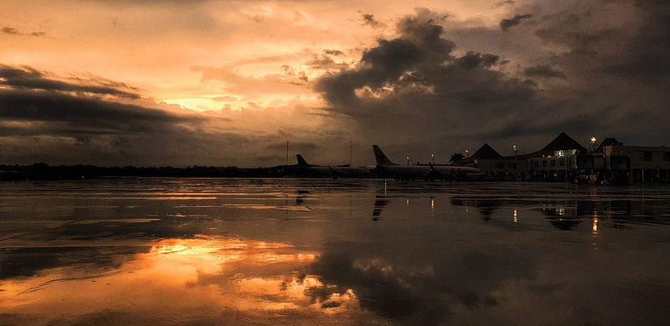 After pouring rain Cloud - Sky Sunset Water Reflection Sky Outdoors Night No People Backgrounds Nature City Sea Beauty Architecture Airport Photography Airport SamsunggalaxyS8+ Mobilephotography Samsungphotography PhonePhotography Sunsetlover Sunset Photography Sunset And Clouds
