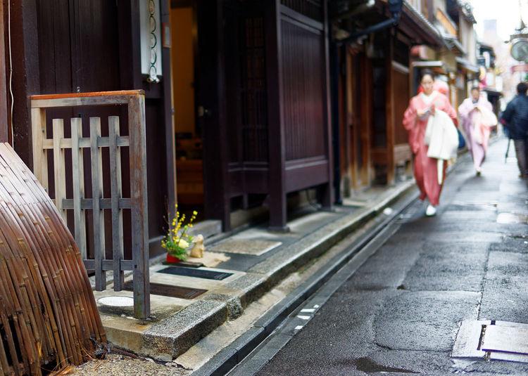 ASIA Tradition Alley Architecture Kimono Kyoto,japan Ponto-cho Rain Letup Stone Road Women Wooden Building