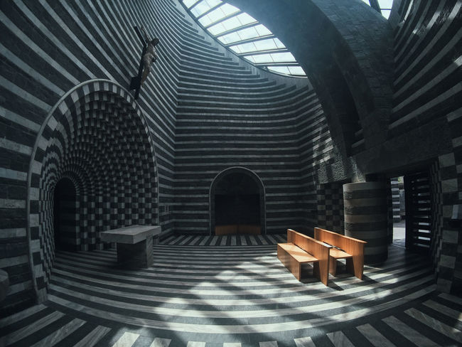 Mario Botta Mogno Travel Travel Photography Absence Arch Architecture Bench Building Built Structure Ceiling Chair Day Empty Indoors  Nature No People Pattern Place Of Worship Seat Shadow Sunlight Switzerland Table Wood - Material