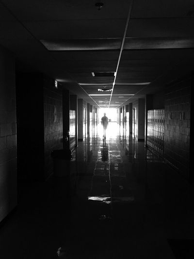 JPII Highschool Hallway Indoors  Real People Architecture Built Structure Silhouette Illuminated Arcade Corridor