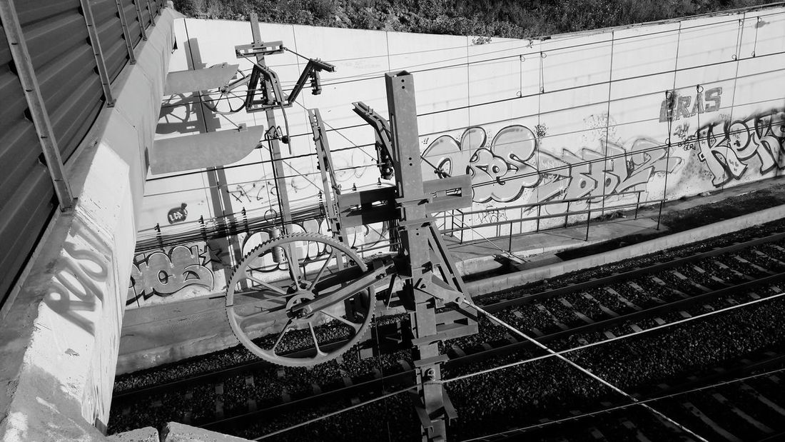 Graffiti Day Built Structure Transportation Architecture No People Outdoors Train Tracks Blackandwhitephoto Black And White Collection  Black And White Collection  Blackandwhite Photography Benalmádena, Malaga, Spain Arroyo De La Miel
