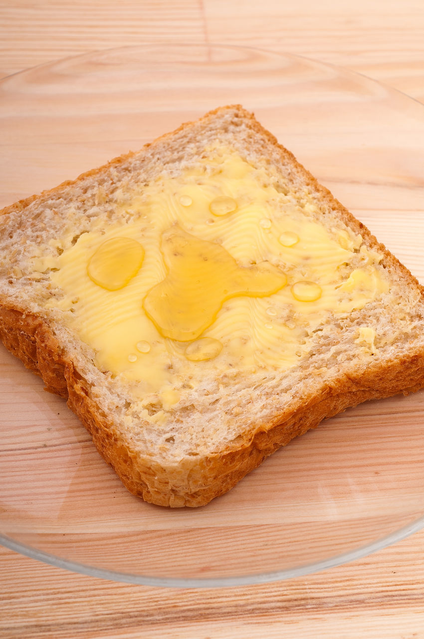 food and drink, table, food, bread, high angle view, indoors, no people, wood - material, freshness, close-up, yellow, ready-to-eat, day