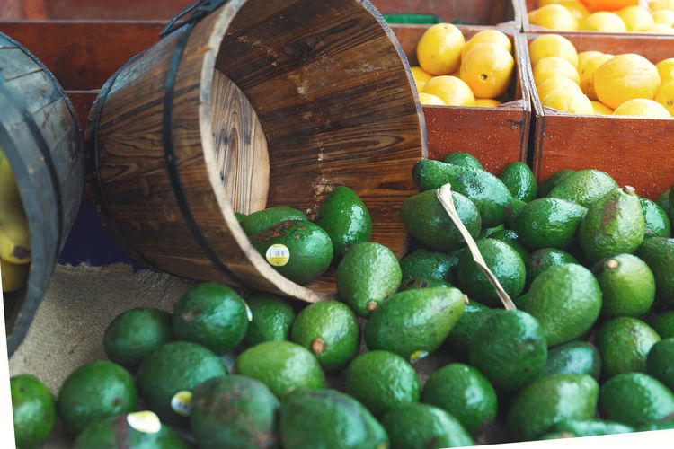Avocado's in the Market Abundance Avocado Close-up Day Food Food And Drink For Sale Freshness Fruit Green Color Healthy Eating Indoors  Large Group Of Objects Market No People Retail  Variation