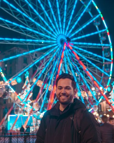 Illuminated Arts Culture And Entertainment Smiling Night Happiness Emotion Portrait Fun Ferris Wheel Amusement Park Light Lifestyles First Eyeem Photo