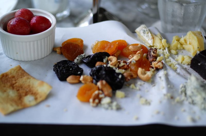 Dessert with dried fruits on table