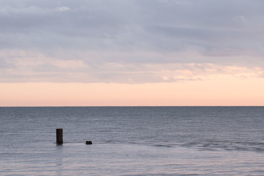 Sunrise at Overstrand Beach, nr Cromer. Norfolk Overstrand Beauty In Nature Cromer Day Horizon Over Water Idyllic Nature No People North Sea Oceanscape Outdoors Scenics Sea Sky Sunrise Sunset Tranquil Scene Tranquility Water Wooden Post