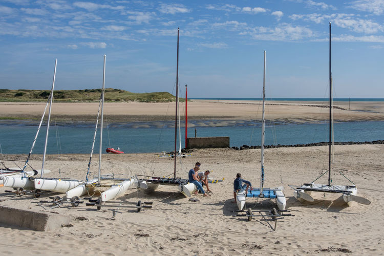 France Holiday Portbail Beach Catamaran Horizon Over Water Men Nautical Vessel Normandy Outdoors Sailing Sand Scenics Sea Sky Summer Vacation Water Catamarans Watercraft Blue Sky Blue Sky And Clouds