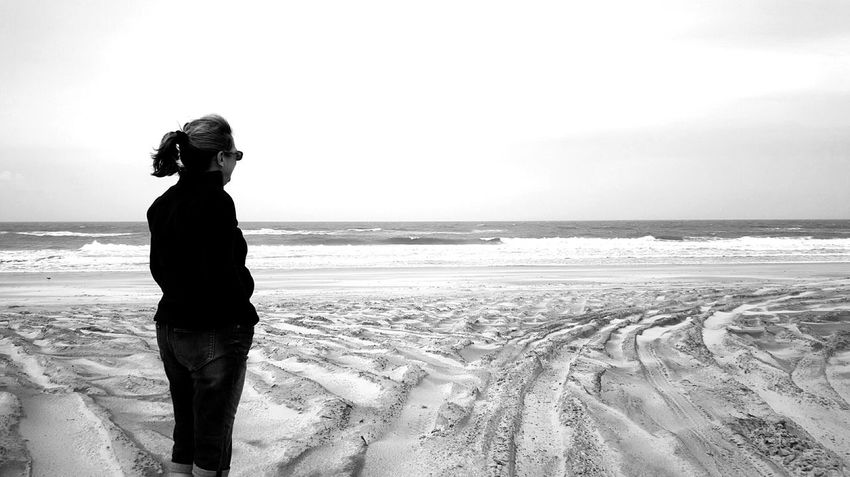 People Of The Oceans She sought Solace at the water's edge Beach Photography EyeEm EyeEm Best Shots EyeEm Gallery By The Sea Coastal_collection Eyeemphotography B&w Black & White Edit :)  S6