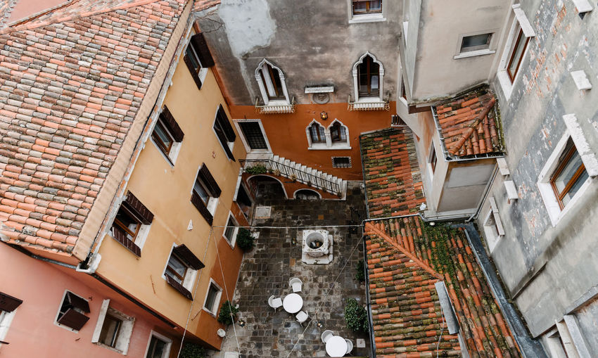 Venice Venice, Italy Architecture Built Structure Building Exterior Window Building City Wall Residential District Day Outdoors Brick Low Angle View Brick Wall History No People The Past Town Direction Roof Positive Emotion Roof Tile Apartment Alley