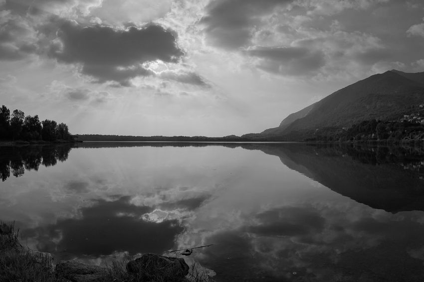 lago di Annone Black And White Italy Lombardia Acqua Sony A6000 Annone Lake Water Lake Storm Cloud Reflection Mountain Tree Sky Cloud - Sky Landscape Reflection Lake Standing Water Water Surface Calm Symmetry