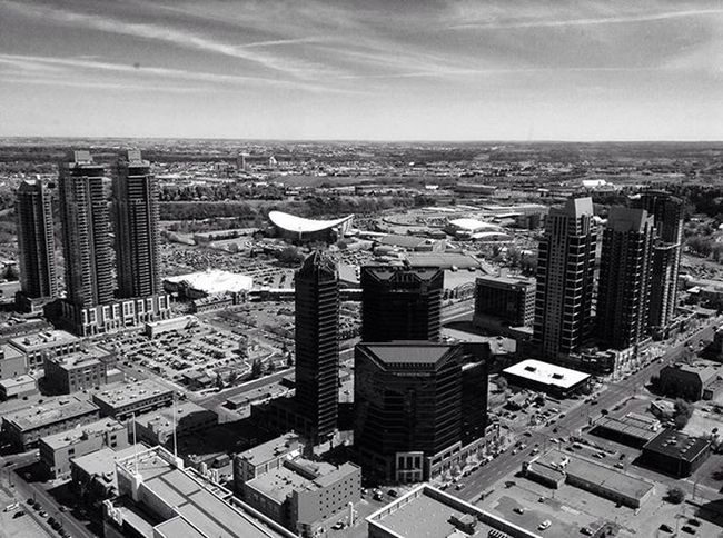 The view from the Calgary tower Calgary Saddledome Black &white Pretty Downtown Calgarytower Loveitherealready