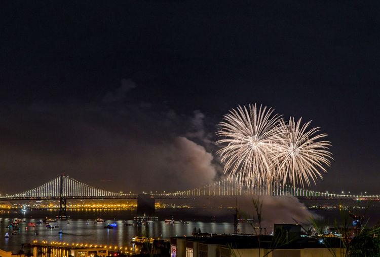 Fireworks Skyline Architecture Bridge View Celebration City Event Exploding Firework Display Illuminated Long Exposure Night Nightphotgraphy  Sky
