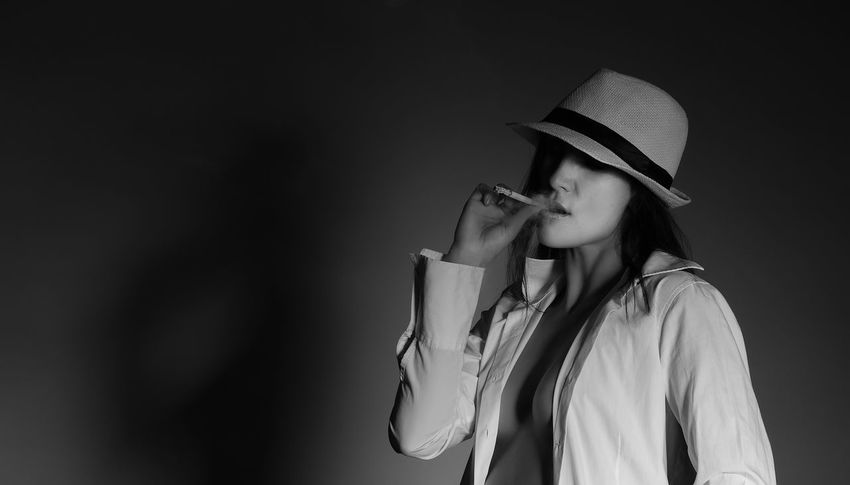 woman with cigarette Addiction Beaitiful Beauty Blackandwhite Cheeky Cigarette  Enjoyment Enticing Erotic_model Girl Glamour Hat Lascivious Livestyle Longing Provocative Pose Saucy Sensual_woman Sexygirl Smoker Smoking Stylish Thougthfully Woman Young Women