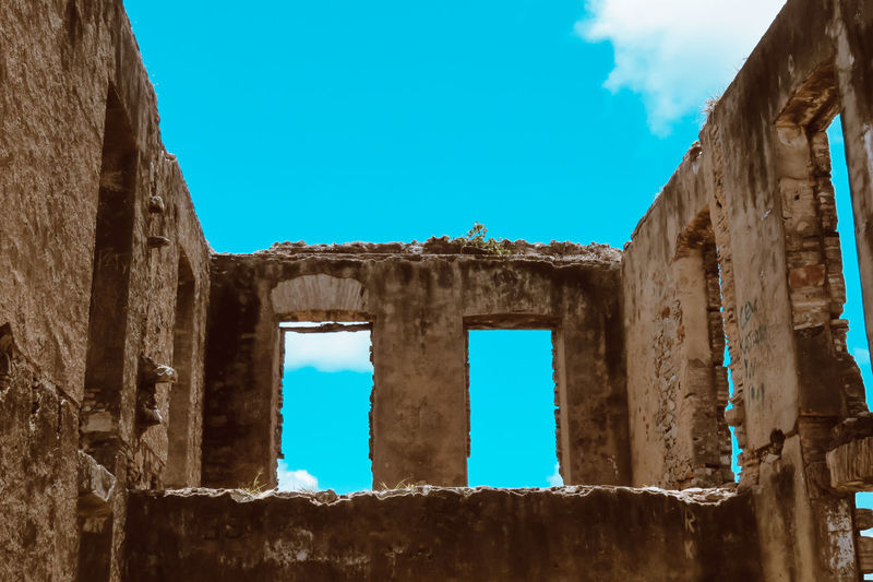 Ruins Architecture Blue Blue Sky Building Exterior Built Structure Clear Sky Day History Low Angle View No People Old Old Buildings Outdoors Ruins Sky Window