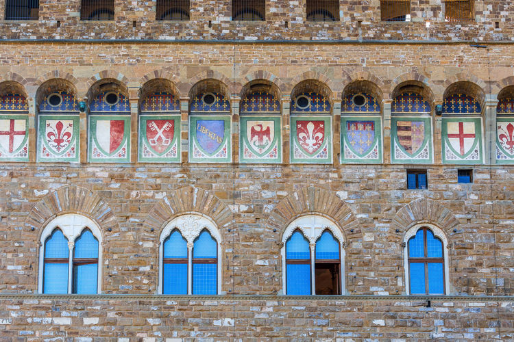 Wall with coats of arms on a palace
