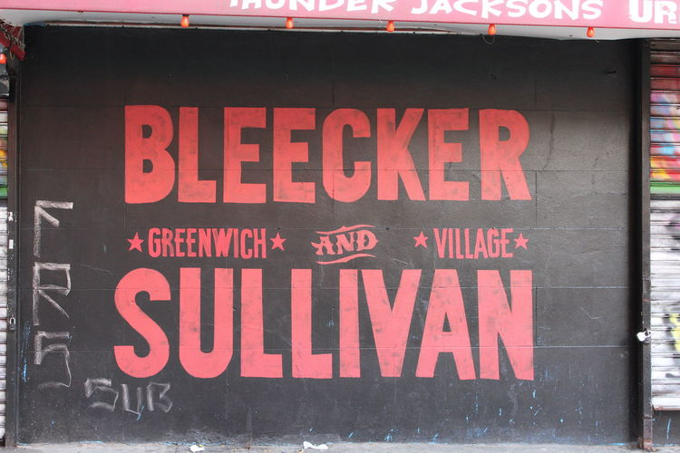 Bleecker Street Close-up Communication Day Greenwich Greenwich Village New York No People Outdoors Red Sullivan Text USA