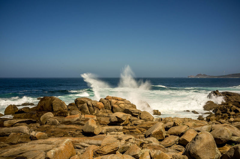 Muxía Beach Beauty In Nature Breaking Clear Sky Crash Day Force Hitting Horizon Over Water Motion Nature No People Ocean Outdoors Power In Nature Rock - Object Rough Sea Sky Water Waterfront Wave Perspectives On Nature