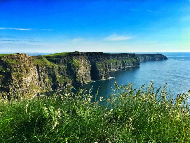 Cliffs of Moher Atlantic Ocean Ireland Sky Water Plant Sea Beauty In Nature Nature Growth Tranquil Scene Horizon Over Water Outdoors Sunlight Horizon Blue