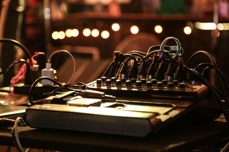 Party Indoors  No People Selective Focus Music Table Metal In A Row Close-up Still Life Audio Equipment Equipment Focus On Foreground Technology Arts Culture And Entertainment Control Musical Instrument Large Group Of Objects Sound Recording Equipment Absence Recording Studio