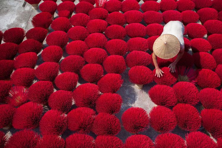 Cao thon incense making village in hung yen, north vietnam