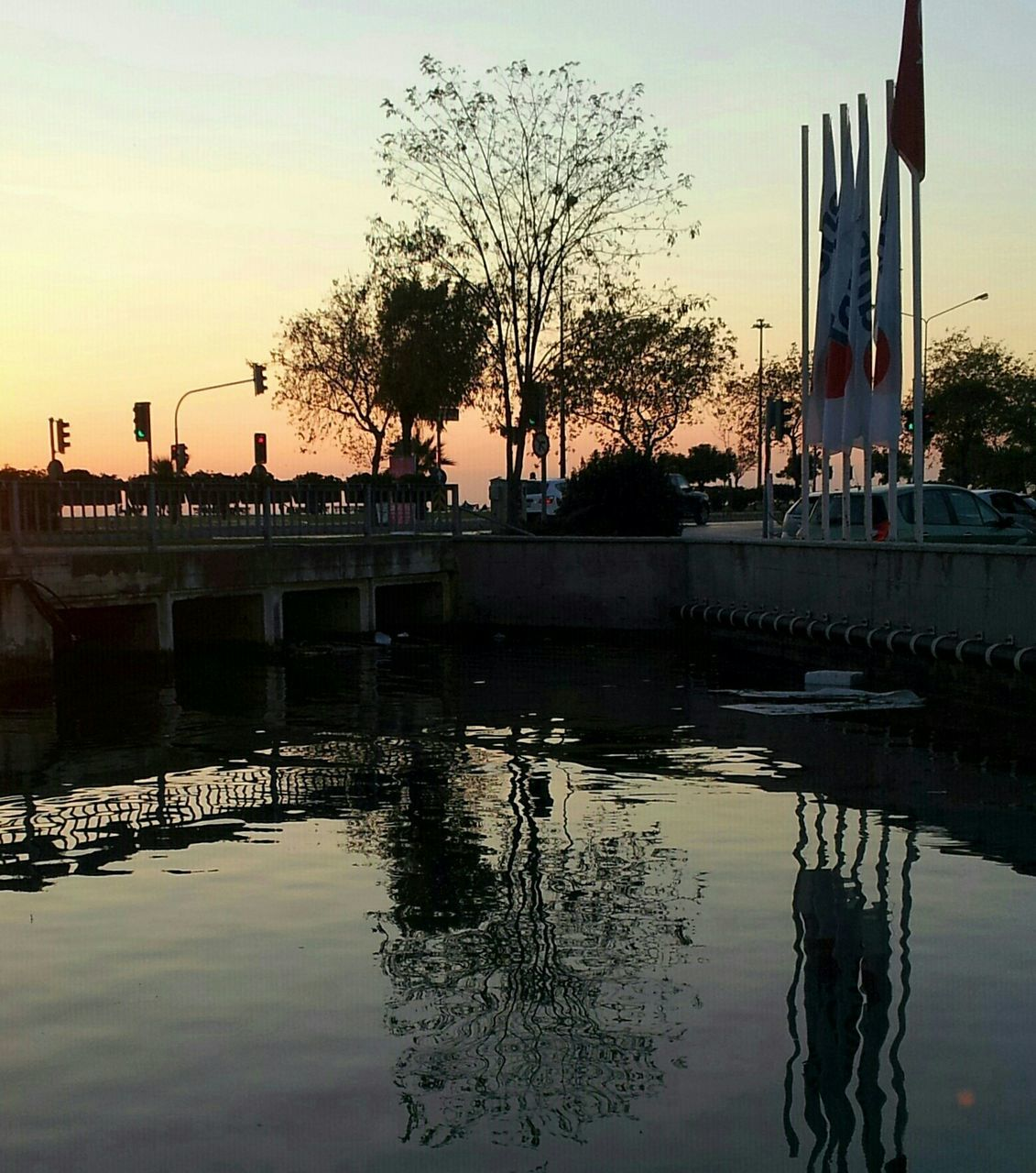 reflection, sunset, tree, water, architecture, building exterior, built structure, sky, outdoors, city, nature, no people, day