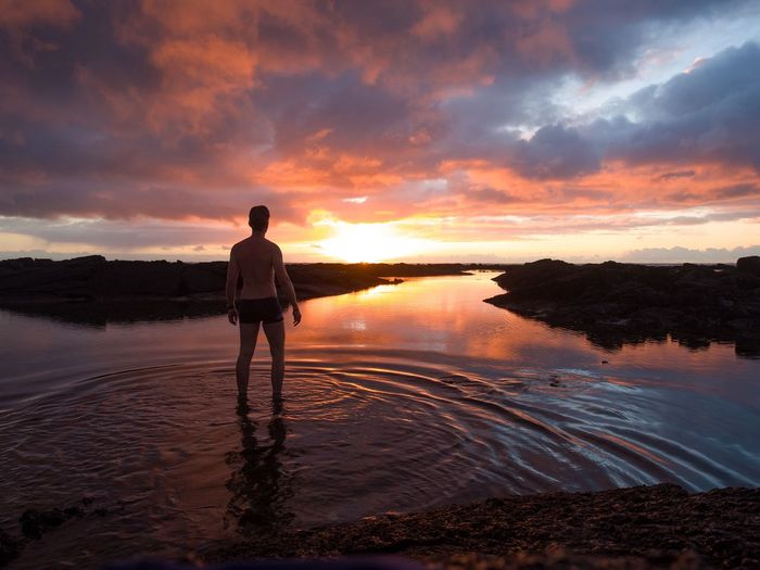 Pacific sunrise. Pahoa Hawaii Coast Sunrise Self Portrait Me Good Morning Landscape Nature Outdoors Big Island Pacific Unrecognisable Person Kapoho Tide Pools Tide Pool Colour Of Life My Favorite Place People And Places Miles Away Long Goodbye Paint The Town Yellow Lost In The Landscape
