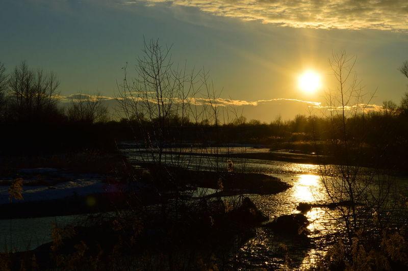 закат🌇 Природа Лес зима река отражение блеск First Eyeem Photo