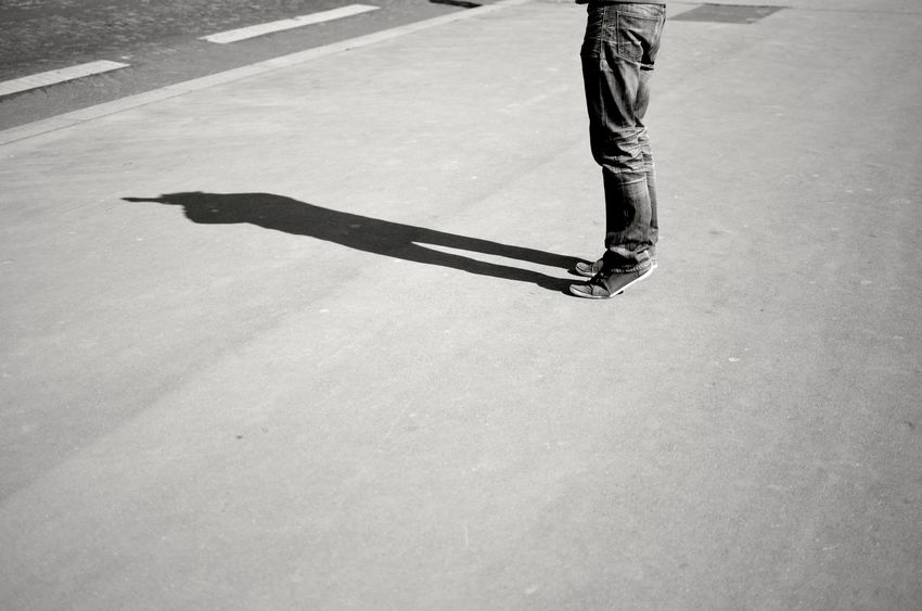 Anonymous Black And White Photography Day Feet Human Leg Men On A Bridge One Person Outdoors Paris Photographer Real People Seine River Shadow Standing Stanton  Street Streetphotography