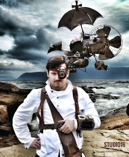 Steampunk Portrait Fashion Vintage Traveler Scene Sea Flying Vehicle Male Model Cosplay Steampunk Photography Dreamscape Fantasy Outdoors