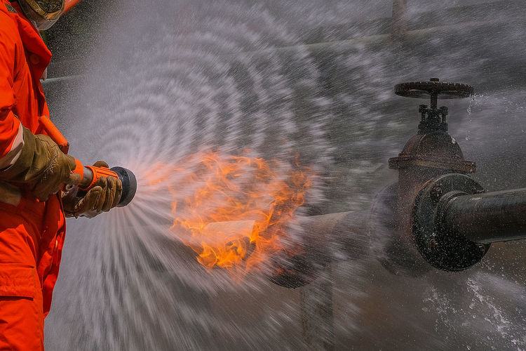 Man working in water